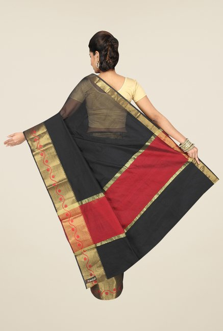 Pavecha's Black Banarasi Cotton Silk Solid Saree
