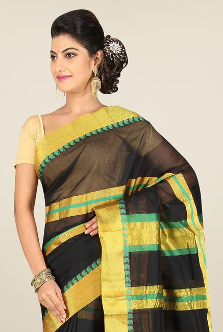 Pavecha's Black Banarasi Cotton Silk Stripes Saree