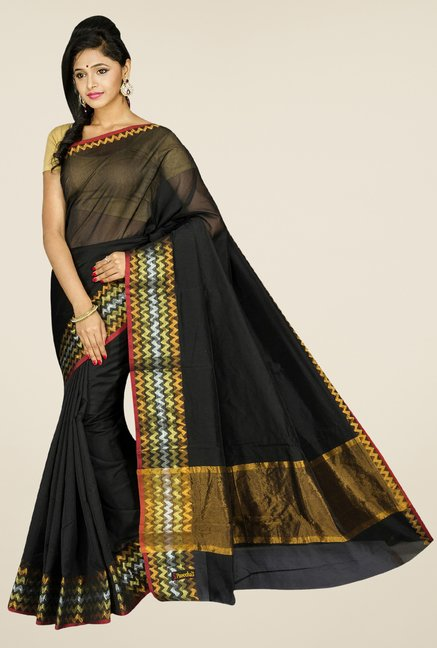 Pavecha's Black Banarasi Cotton Silk Saree