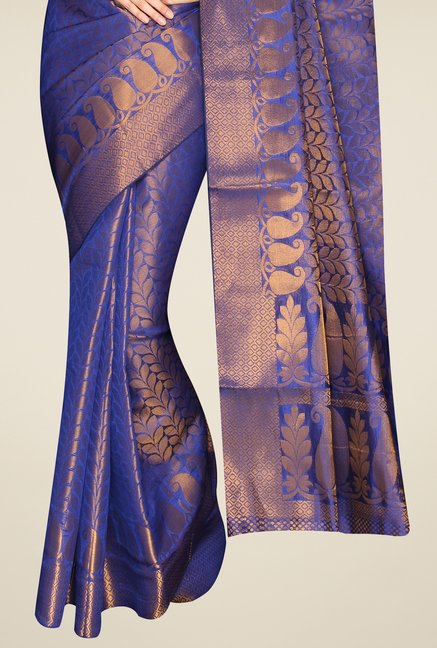 Pavecha's Purple Banarasi Silk Cotton Blend Saree