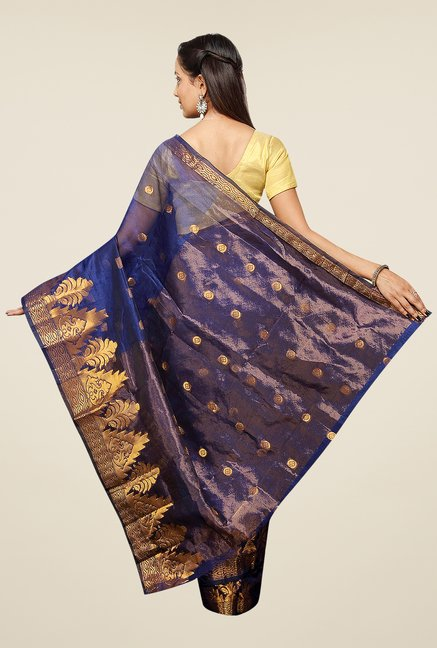 Pavecha's Blue Banarasi Cotton Silk Net Printed Saree