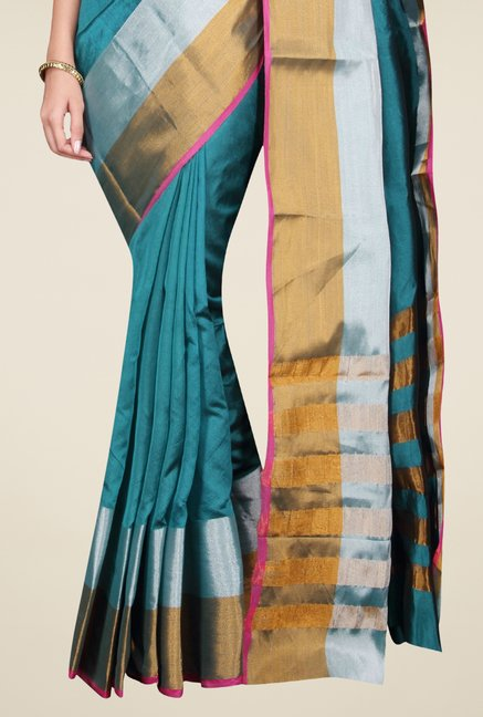 Pavecha's Teal Banarasi Cotton Silk Solid Saree