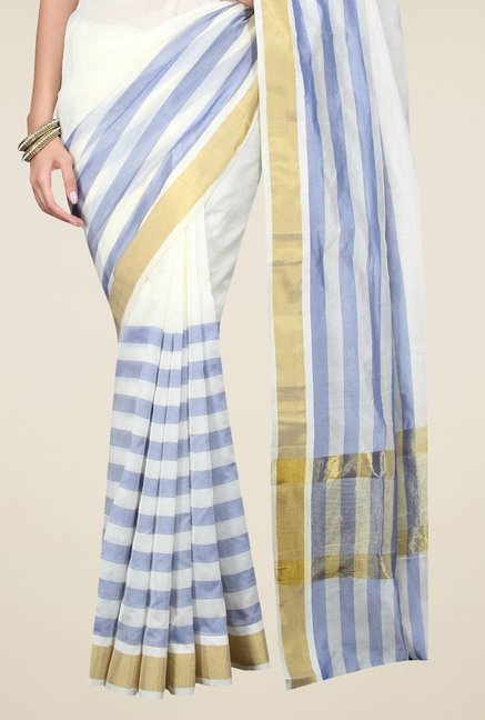 Pavecha's White Banarasi Cotton Silk Stripes Saree