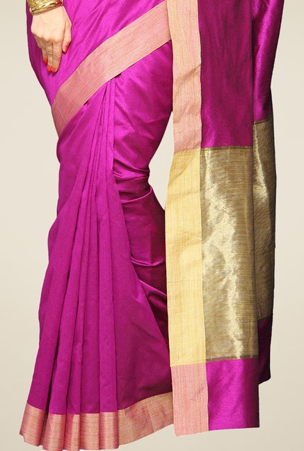 Pavecha's Magenta Cotton Silk Saree