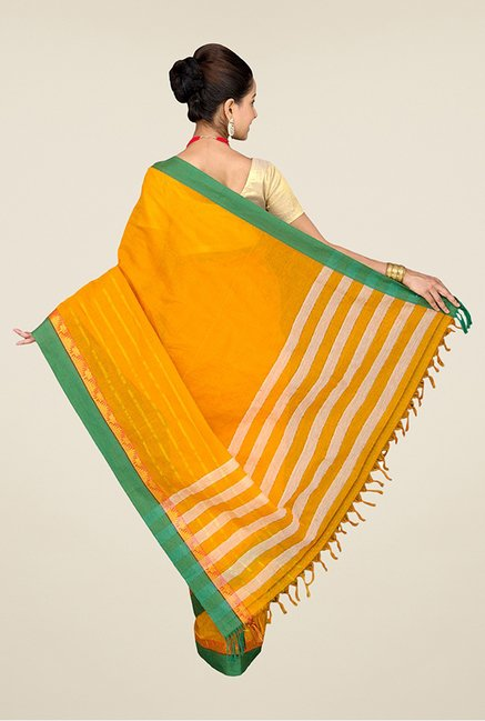 Pavecha's Yellow Mangalagiri Cotton Saree