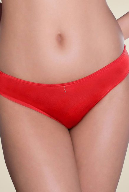 Amante Red Solid Bikini Panty