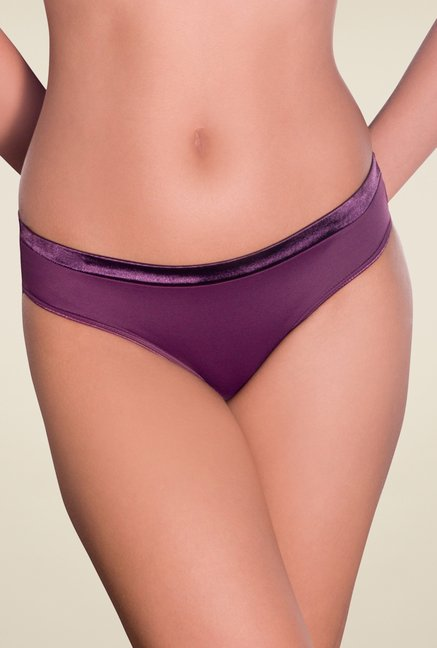 Amante Purple Satin Edge Solid Bikini Panty