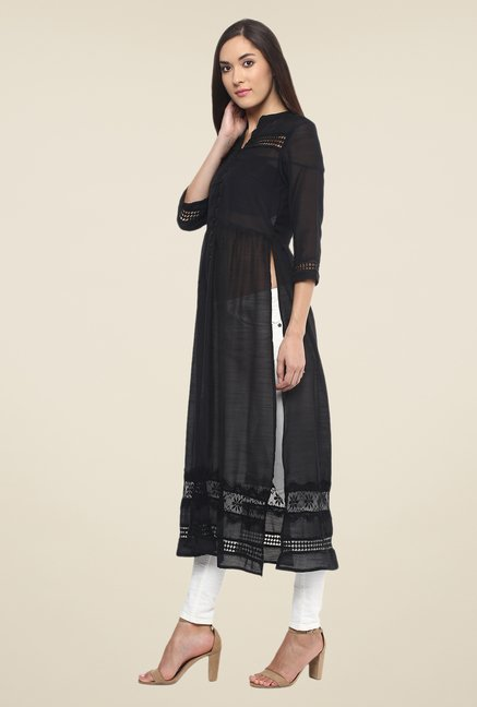 Fusion Beats Black Solid Kurta
