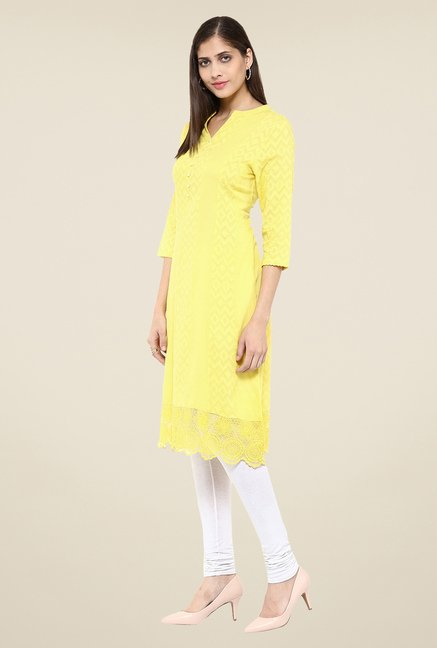 Fusion Beats Lime Self Print Kurta