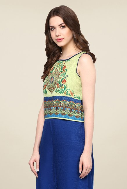Fusion Beats Green Printed Top