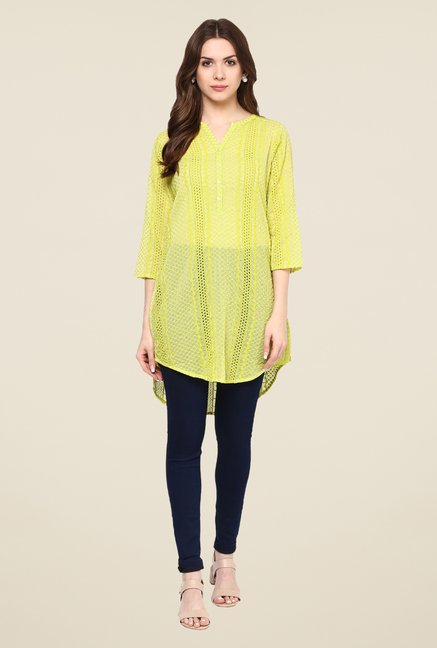 Fusion Beats Lime Embroidered Tunic
