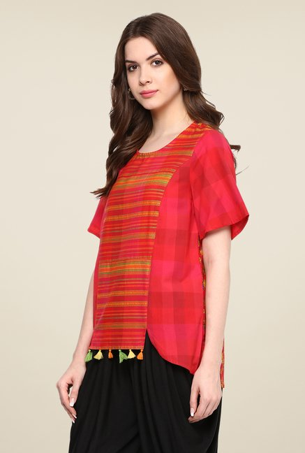 Fusion Beats Red Short Sleeve Printed Top