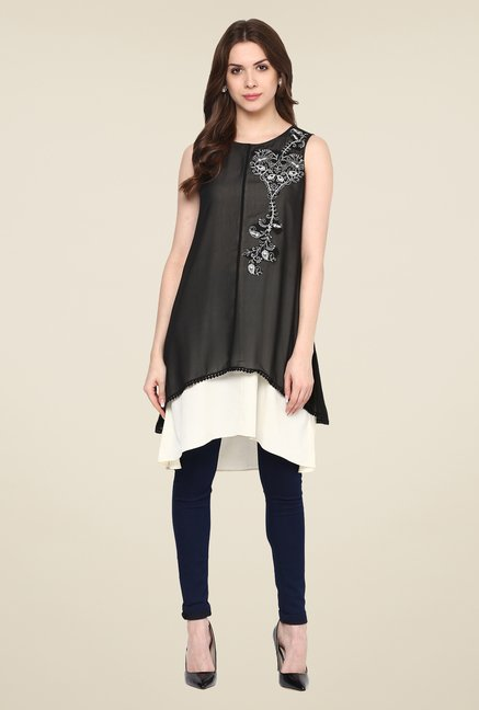 Fusion Beats Black Embroidered Tunic
