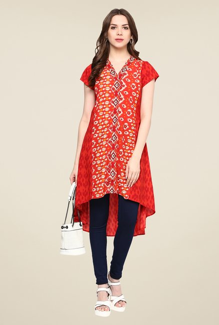 Fusion Beats Red Printed Tunic