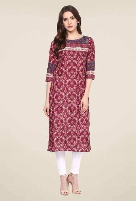 Fusion Beats Purple Printed Kurta