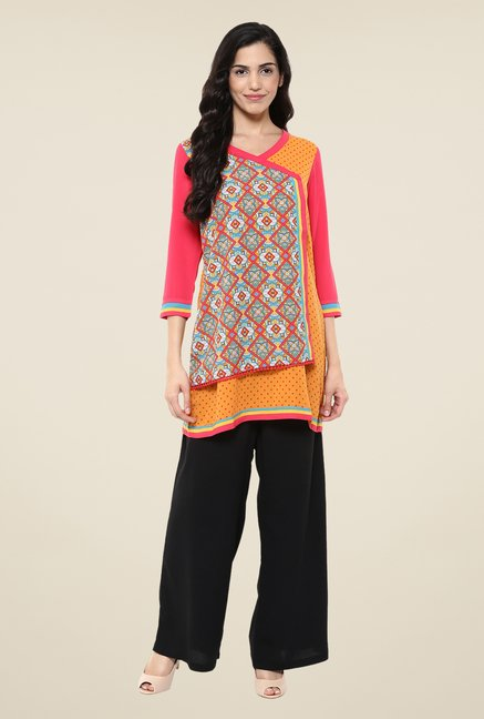 Fusion Beats Pink & Orange Printed Tunic