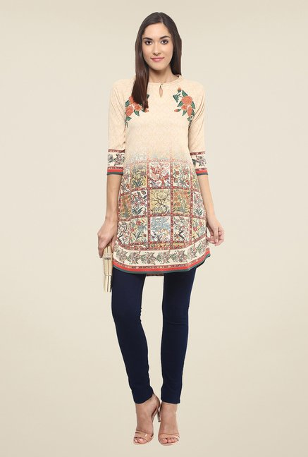 Fusion Beats Beige Floral Print Tunic