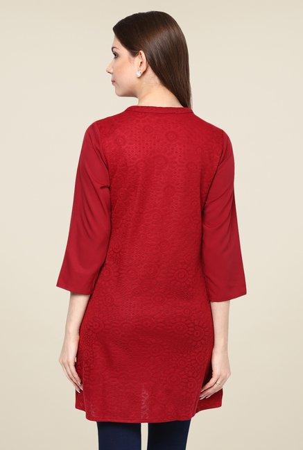 Fusion Beats Maroon Self Print Tunic