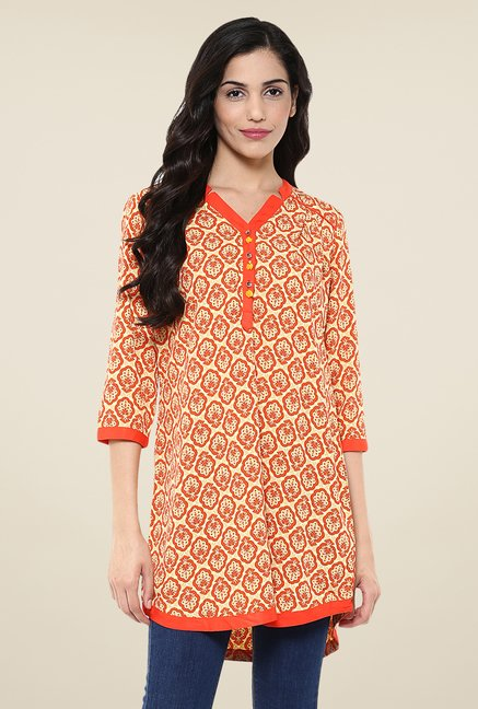 Fusion Beats Orange Printed Tunic