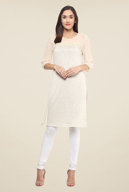 Fusion Beats Off White Solid Kurta