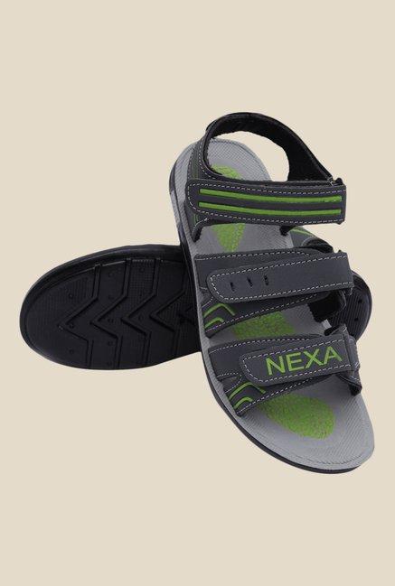 ac4e8df1ebcf Buy Nexa Grey   Green Floater Sandals For Men Online At Tata CLiQ