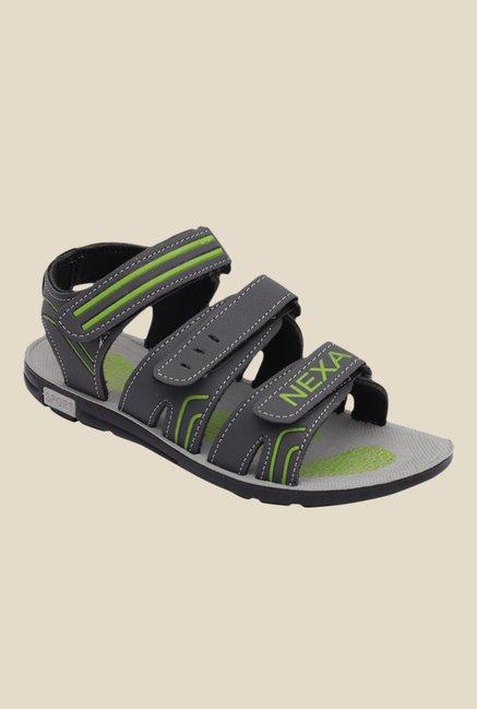 b19ea3ce12ae Buy Nexa Grey   Green Floater Sandals For Men Online At Tata CLiQ