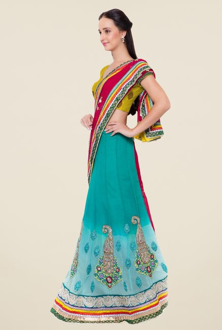 Triveni Blue & Maroon Embroidered Faux Georgette Saree