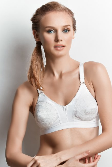 Libertina White Tiara Embroidered Bra