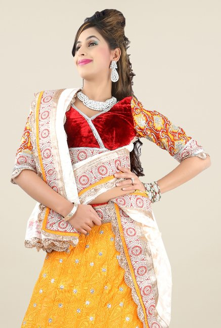 Triveni Yellow & Maroon Embroidered Lehenga Set