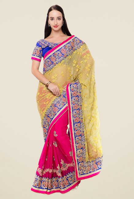Triveni Magenta & Yellow Embroidered Saree