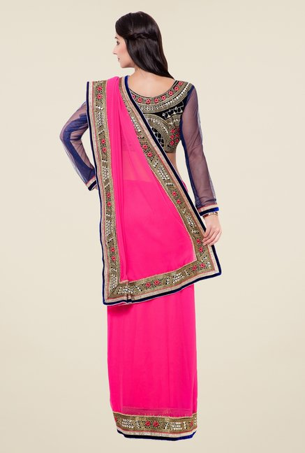 Triveni Pink Embroidered Georgette Saree