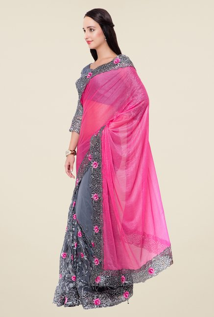 Triveni Grey & Pink Embroidered Lycra Saree