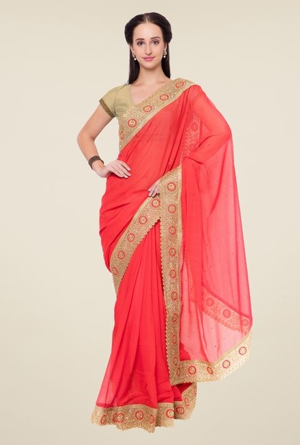 Triveni Coral Embroidered Chiffon Saree