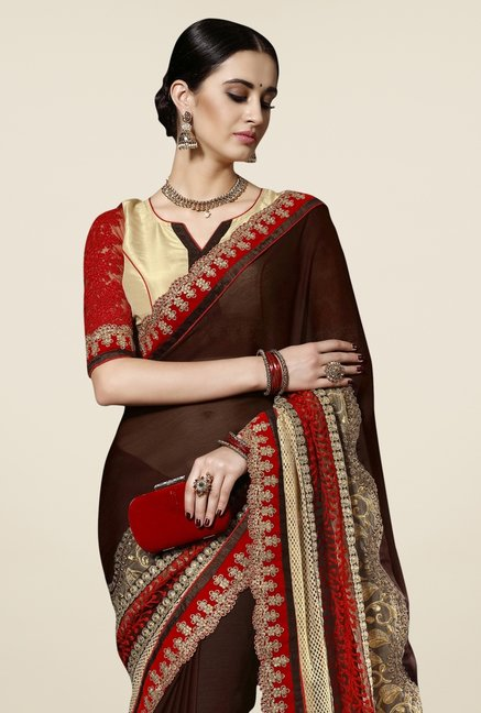 Triveni Brown & Beige Embroidered Chiffon Saree