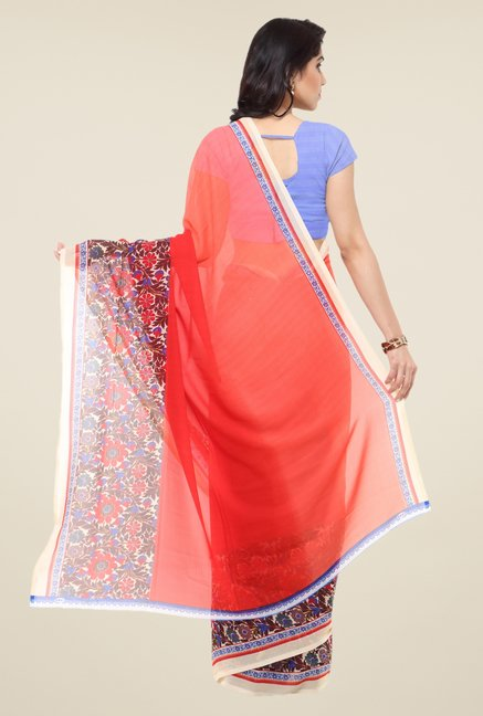 Triveni Red Floral Print Art Silk Saree