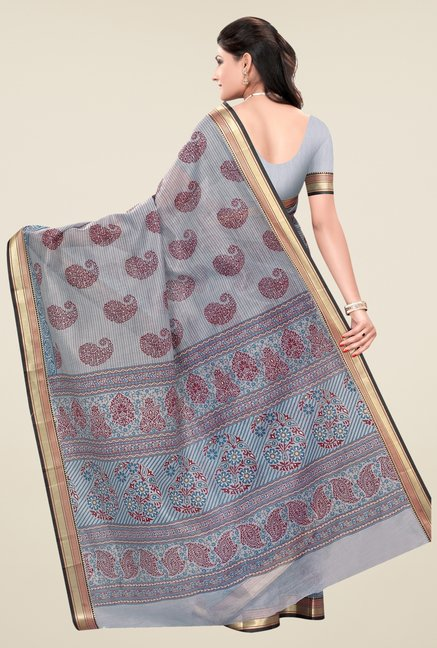 Triveni Grey Paisley Print Art Silk Saree