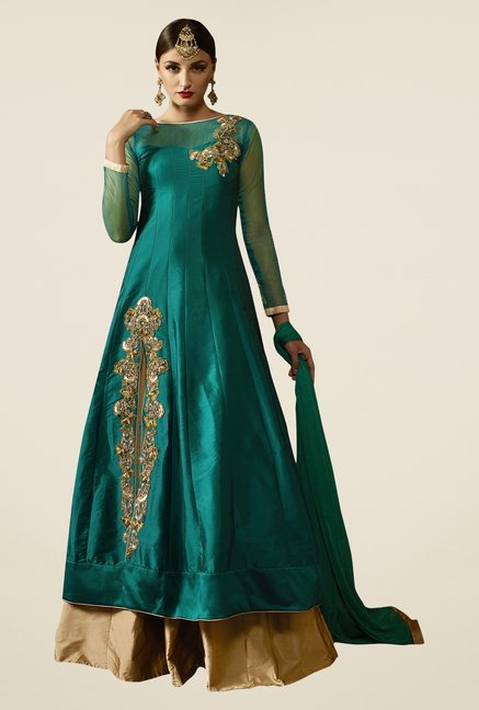 Triveni Teal & Gold Solid Lehenga Set
