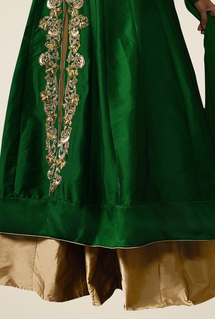 Triveni Green & Gold Solid Lehenga Set