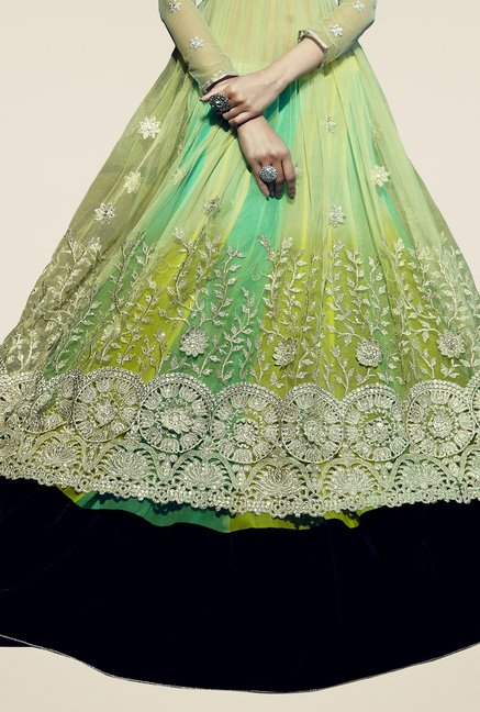 Triveni Green Embroidered Chiffon Lehenga Set