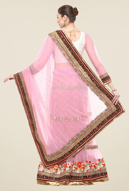 Triveni Pink Embroidered Full Sleeve Lehenga Set