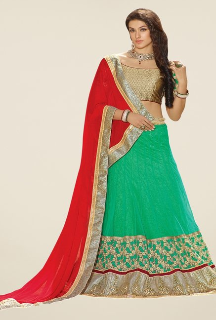 Triveni Green & Gold Embroidered Lehenga Set