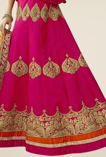 Triveni Magenta Embroidered Lehenga Set