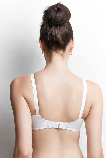 Libertina White Empress Embroidered Bra