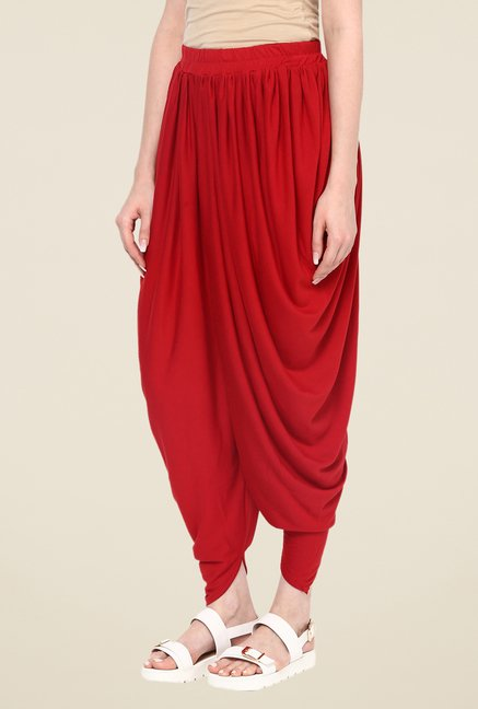 Fusion Beats Red Solid Dhoti Pants