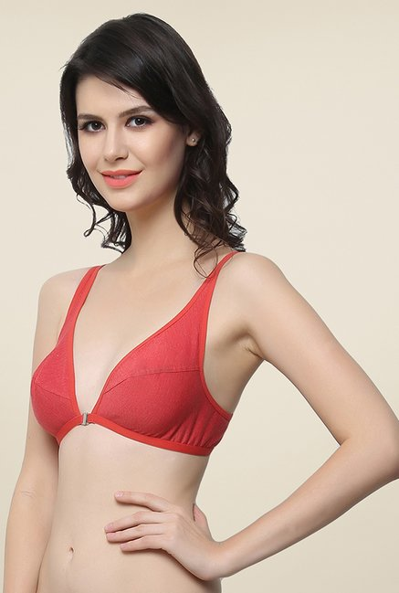 Clovia Red Solid Plunge Bra