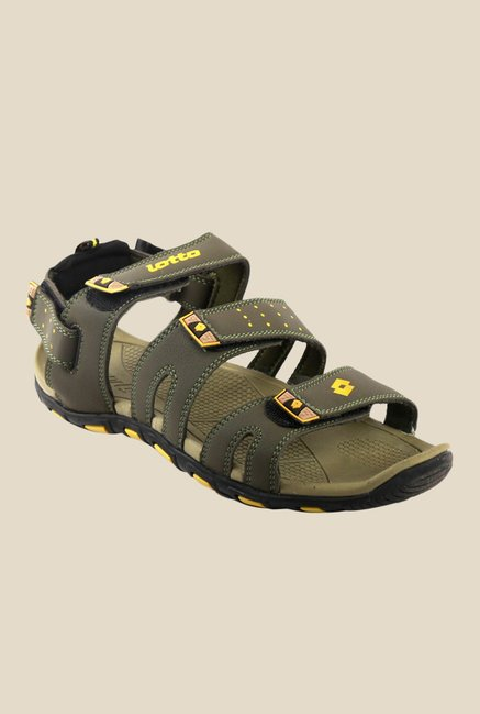 84651f6f9ebd Buy Lotto Slide Olive   Yellow Floater Sandals For Men Online At Tata ...