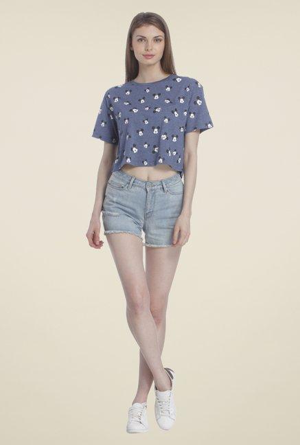 fe2d6c39b32b6 Buy Only Blue Printed Crop Top for Women Online   Tata CLiQ