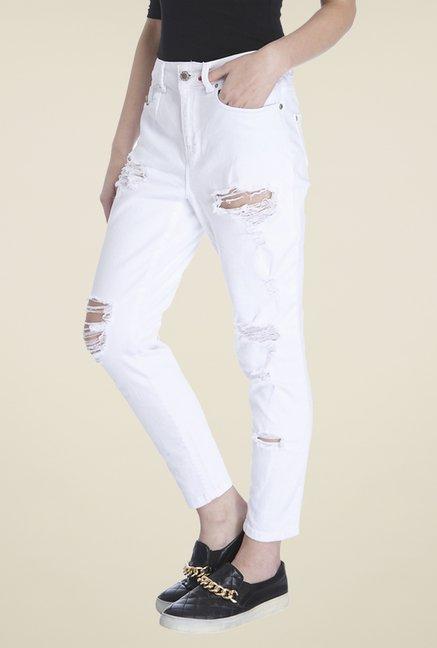 Buy Only White Tattered Jeans for Women Online @ Tata CLiQ