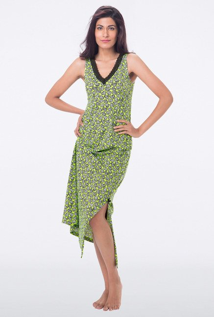 PrettySecrets Green Heart Print Nighty
