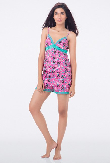 PrettySecrets Blue and Pink Printed Short Set